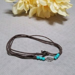 Jewelry - Brown, teal, & silver wrap bracelet or necklace